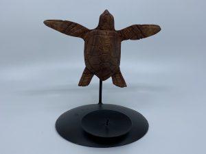 Tortue en bois dur, bougeoir simple 10 cm